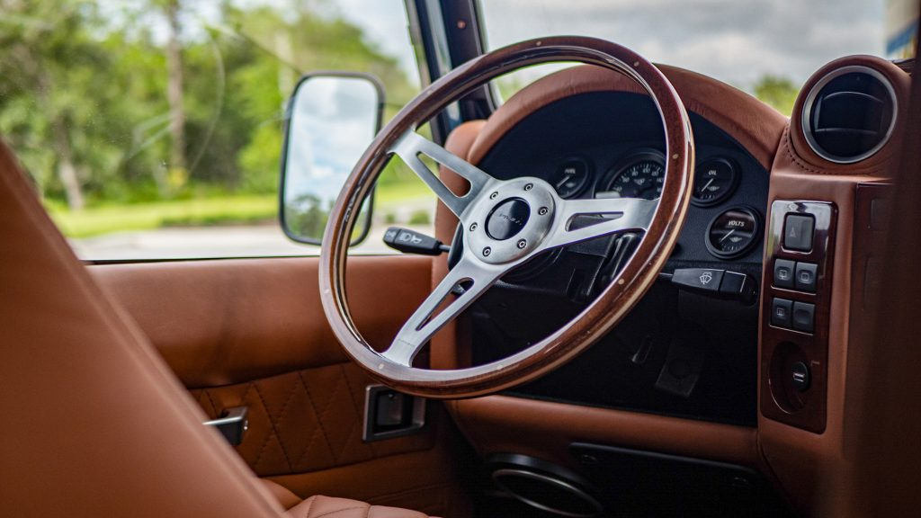 Custom Defender 110 steering wheel